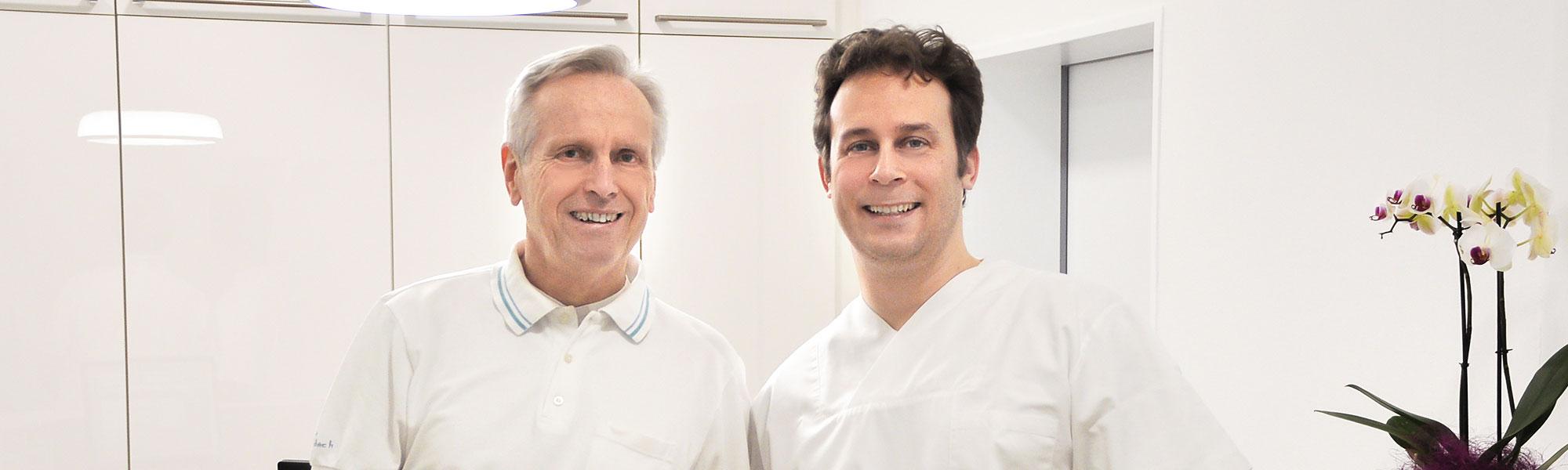 Dr. med. dent. Heinz Gallenbach und sein Sohn Dr. Sven Gallenbach, Zahnarzt in Eberbach.